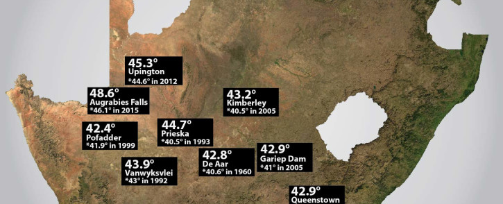 The top 10 highest maximum temperatures records recorded on Tuesday, 5 January.  Picture: EWN
