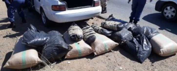 Police arrested a suspect (34) on 25 August 2020 for dealing in drugs (dagga) at a roadblock held on the R30. Picture: Saps/Twitter