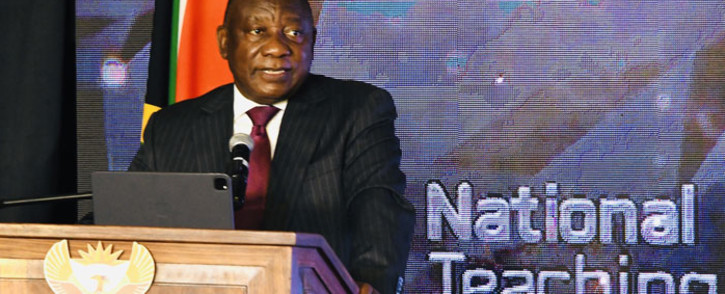 President Cyril Ramaphosa at the National Teaching Awards in Kempton park on 6 October 2021. Picture: @PresidencyZA/Twitter