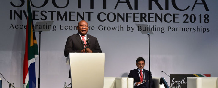 "President Cyril Ramaphosa delivers the keynote address at the Investment Conference 2018 held at the Sandton Convention Centre in Johannesburg under the theme, ""Accelerating Growth by Building Partnerships"" Picture: GCIS."