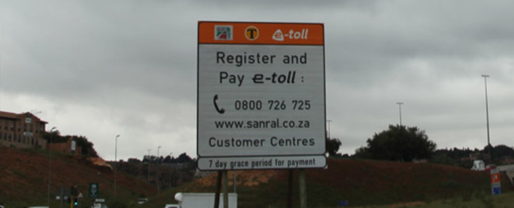 FILE: An e-toll sign on the N1 in Johannesburg. Picture: Christa Eybers/EWN.
