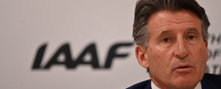 Britain's Sebastian Coe addresses the media following his re-election unopposed as president of the IAAF for a second term in the Qatari capital Doha on 25 September 2019. Picture: AFP