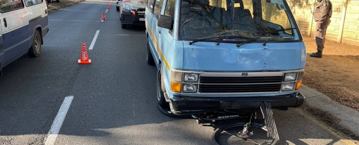 A man was crushed by the taxi then dragged for over half a kilometre before the taxi was stopped by members of the public. Picture: Netcare 911.