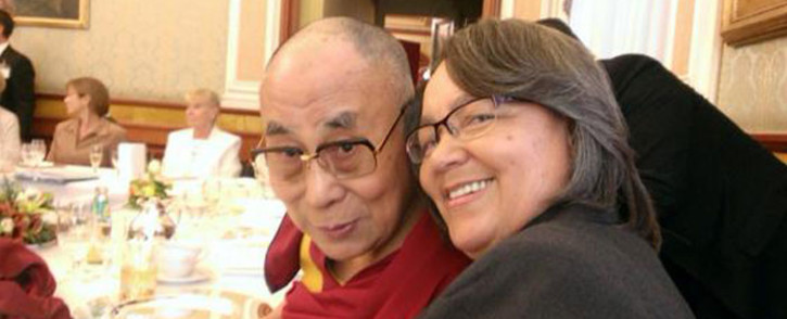 Mayor of Cape Town Patricia de Lille with tTibetan spritual leader the Dalai Lama at the 14th World Summit of Nobel Peace Laureates in Rome. Picture: Twitter via @PatriciaDeLille.