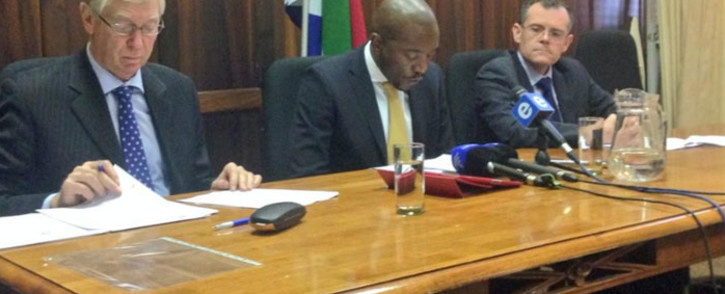 The DA's David Ross, Mmusi Maimane and Dion George discuss wasteful expenditure in Parliament on 21 October 2014. Picture: Giovanna Gerbi/EWN.