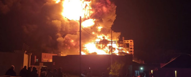 A substation in the Robertsham area caught fire on 18 October 2021. Picture: @CityPowerJhb/Twitter