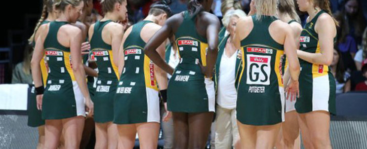 The Proteas netball side during their World Cup match against England on 18 July 2019. Picture: @Netball_SA/Twitter