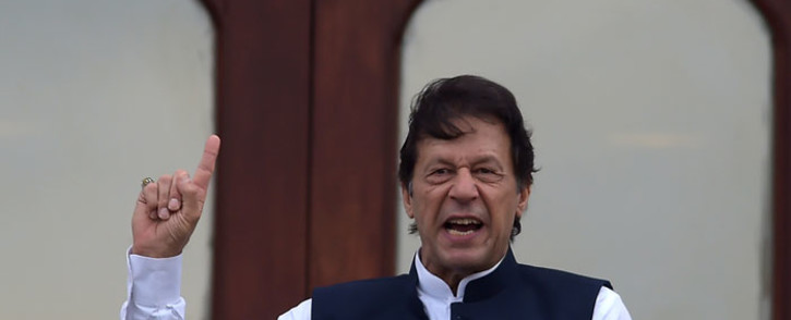 Pakistan's Prime Minister Imran Khan addresses the nation outside the Prime Minister Secretariat building in Islamabad on 30 August 2019. Picture: AFP