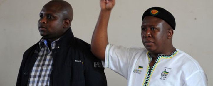 Expelled ANC Youth league president Julius Malema is seen with Floyd Shivambu at the Lenasia Recreational Centre in southern Johannesburg on Wednesday, 12 September 2012 where they arrived to listen to the grievances of soldiers. Picture: Werner Beukes/SAPA