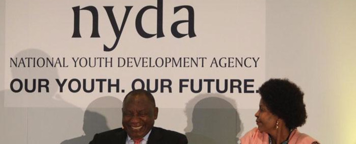 Minister for Women, Youth and Persons with Disabilities Maite Nkoana-Mashabane and President Cyril Ramaphosa address young people ahead of the 2020 State of the Nation Address at Cape Town International Convention Centre on 12 February 2020. Picture: Kayleen Morgan/EWN.