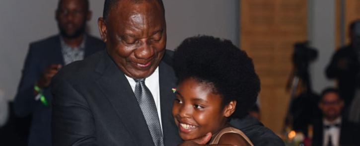 President Cyril Ramaphosa congratulating Michelle Nkadimeng on her Ubuntu Youth Diplomacy Award on 15 February 2020. Picture: @DIRCO_ZA/Twitter