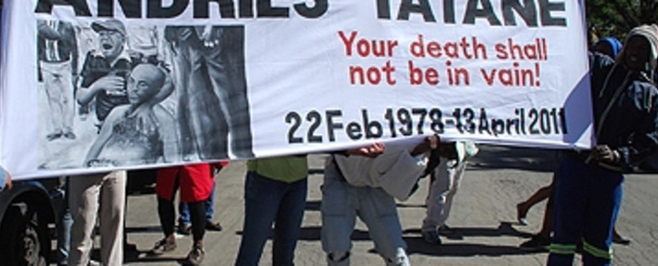 Protesters outside the Ficksburg Magistrates Court. Picture: EWN