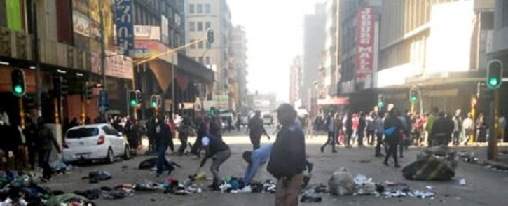 The South African Police Service and Johannesburg Metro Police Department clashed with protesters in the central Johannesburg on Thursday, 1 August 2019. Picture: IntelligenceBureauSA/Facebook
