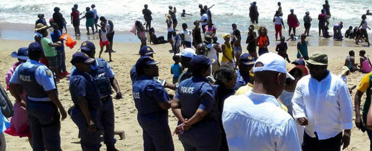 FILE: The nation's beaches are packed, as thousands flock to the ocean for the traditional New Year's Day festivities. Picture: @SAPoliceService via Twitter.