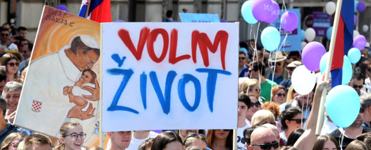 """People take part in the """"March for Life"""", Croatia's fourth annual anti-abortion march in Zagreb on May 25, 2019. Picture: AFP."""