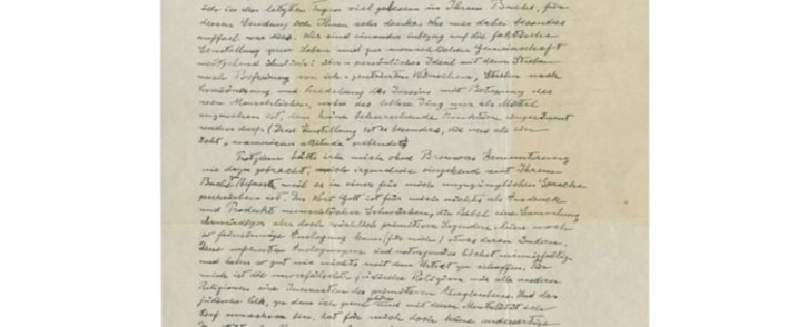A screengrab of the letter by Albert Einstein in which the physicist doubts the existence of God.