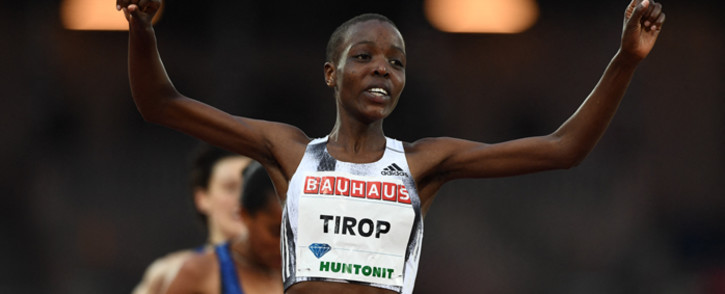 FILE: Kenya's Agnes Jebet Tirop celebrates after winning in the women's 5,000m during the IAAF Diamond League competition on 30 May 2019 in Stockholm, Sweden. Picture: Jonathan NACKSTRAND/AFP