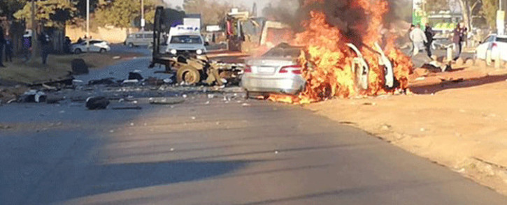 A money truck was bombed on 3 June 2020 on Kagiso Drive in Chamdor, Krugersdorp. Picture: @crimeairnetwork/Twitter.