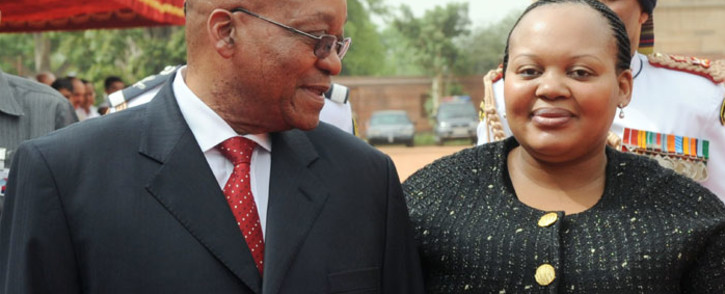 President Jacob Zuma talks with his now estranged wife Nompumelelo Ntuli-Zuma. Picture: AFP.