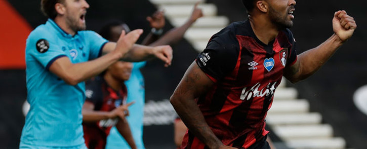 Bournemouth striker Callum Wilson (R) reacts to a goal disallowed for a handball during the English Premier League football match between Bournemouth and Tottenham Hotspur at the Vitality Stadium in Bournemouth, southern England, on 9 July 2020. Picture: AFP