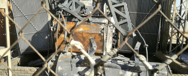 The transformer at the Eikenhof substation appeared to have been maliciously damaged so that it would leak oil onto the fire during Mayor Herman Mashaba's visit to the substation. Picture: @CityofJoburgZA/Twitter.