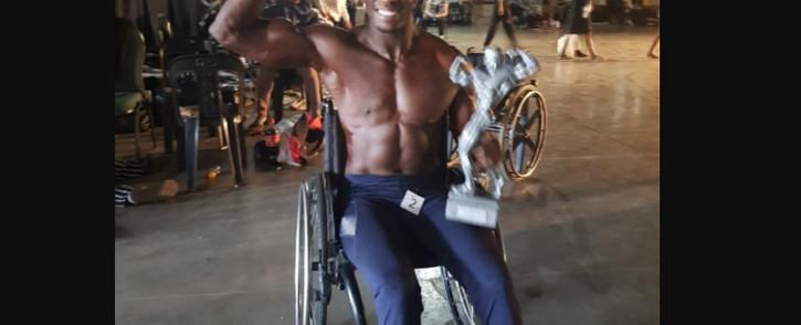 "Wheelchair bodybuilder Macethandile ""Max"" Kulati. Picture: Facebook."