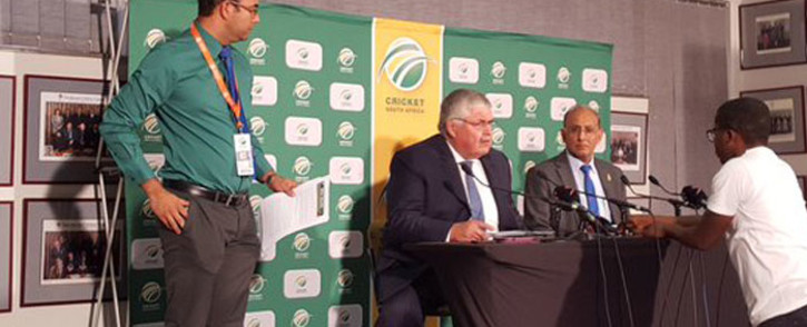 CSA CEO Haroon Lorgat and Louis von Zeuner have arrived to address the media on match fixing scandal. Picture: EWN Sport