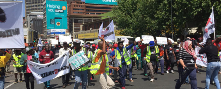 Members of the Right2Know Campaign protest in the Johannesburg CBD on 28 September 2016. Picture: Masego Rahlaga/EWN