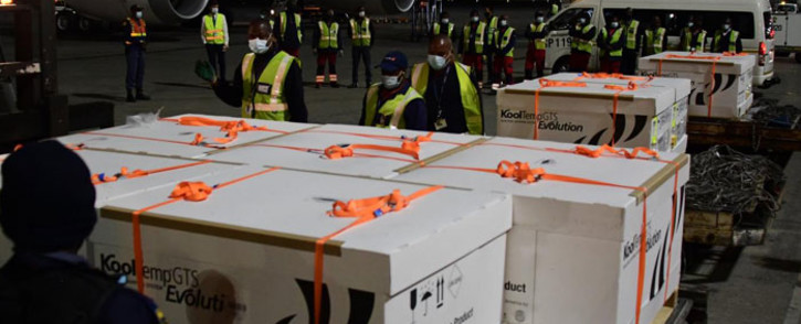 FILE: The first shipment of Johnson & Johnson's coronavirus vaccine arrives at OR Tambo International Airport in Johannesburg on 16 February 2021. Picture: GCIS