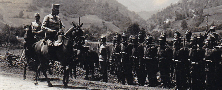 A picture acquired from the historical archives of Sarajevo on 28 June, 2014 shows Archduke Franz Ferdinand inspecting his troops during military manoeuvre, on 27 June, 1914 in Sarajevo, the day before his assassination. Picture: AFP.