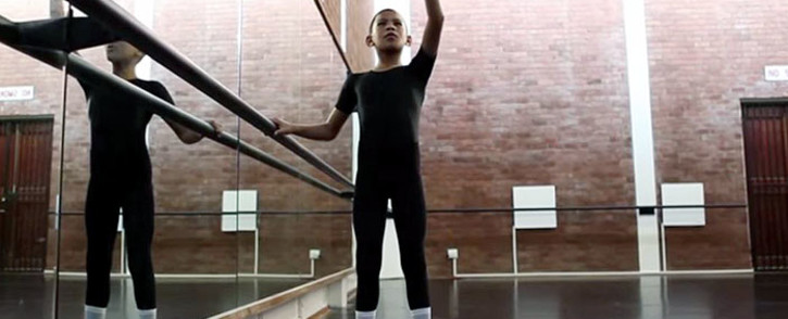 A screengrab of 12-year-old Faakhir Bestman from Hanover Park, Cape Town practicing a ballet routine.