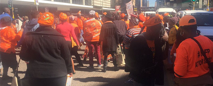 FILE: NFP supporters are pictured outside the South Gauteng High Court on 29 July 2016. Picture: Thando Kubheka/EWN.