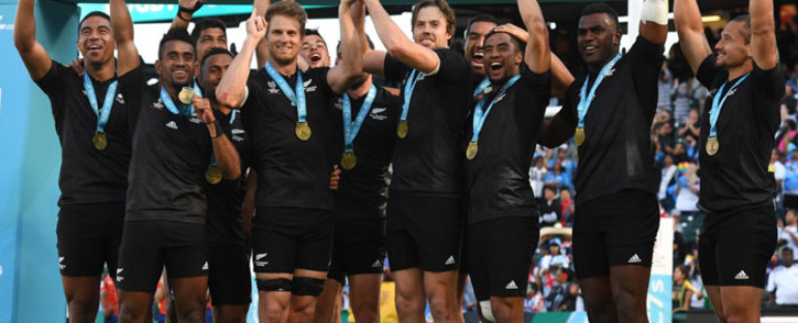 New Zealand's Sevens rugby team celebrate victory in the Sevens World Cup at the AT&T Park at San Francisco, California on 22 July, 2018. Picture: AFP