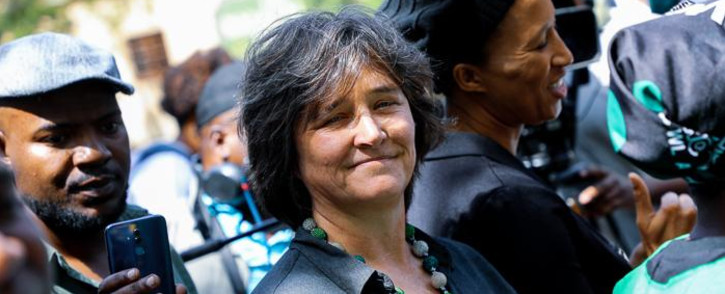 Johannesburg Stock Exchange CEO Nicky Newton-King outside JSE during #SandtonShutdown march on Friday 13 September 2019. Picture: Kayleen Morgan/EWN.