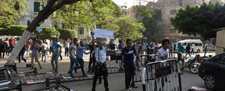 Egyptian protesters demonstrate in Cairo on 25 April, 2016, against the handing over of two Red Sea islands to Saudi Arabia. Picture: AFP.