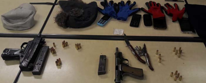 Two suspects allegedly linked to the Rolex gang in Sandton City were arrested on 15 January 2019. The suspects were found in possession of unlicensed firearms and ammunition, possession of drugs and dangerous weapons. Picture: @GP_CommSafety/Twitter