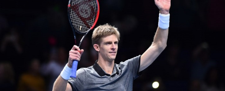 South Africa's Kevin Anderson celebrates after beating Belgium's Dominic Thiem 6-3, 7-6 in their singles round robin match on day one of the ATP World Tour Finals tennis tournament at the O2 Arena in London on 11 November 2018.  Picture: AFP