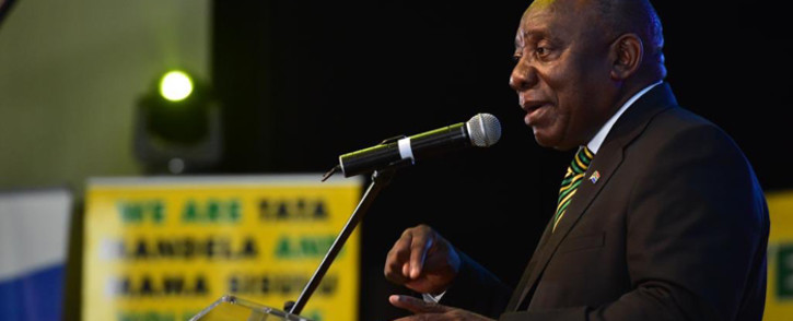 President Cyril Ramaphosa addresses the Hellenic, Italian and Portuguese communities at Germiston, Ekurhuleni, on 26 March 2019 at the HIP Alliance. Picture: @MYANC/Twitter