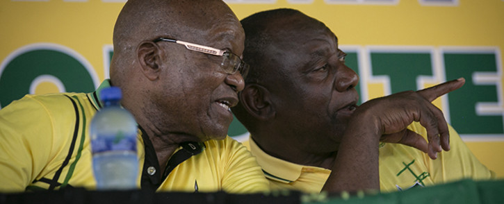 President Cyril Ramaphosa and Former President Jacob Zuma sharing a moment at Ohlange Institute Rally in Inanda during the January 8th celebrations on 8 January 2018. Picture: Sethembiso Zulu/EWN.
