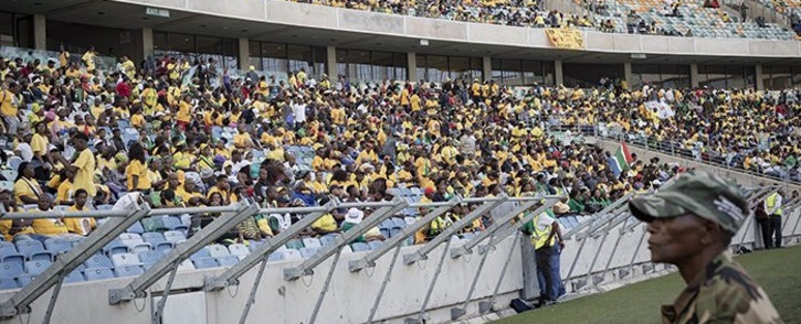 Members of the ANC dancing and singing at Moses Mabhida Stadium ahead of Cyril Ramaphosa's election manifesto speech. Picture: Sethembiso Zulu/EWN