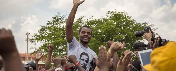 FILE: Student activist Mcebo Dlamini celebrates the granting of bail at the Palm Ridge Magistrates Court in Thokoza. Picture: Thomas Holder/EWN