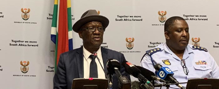 FILE: Police Minister Bheki Cele and the SA Police Service management brief the media. Picture: @SAgovnews/Twitter