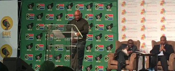 Sipho Pityana delivers the keynote address at the Future of SA conference. Picture: Masa Kekana/EWN