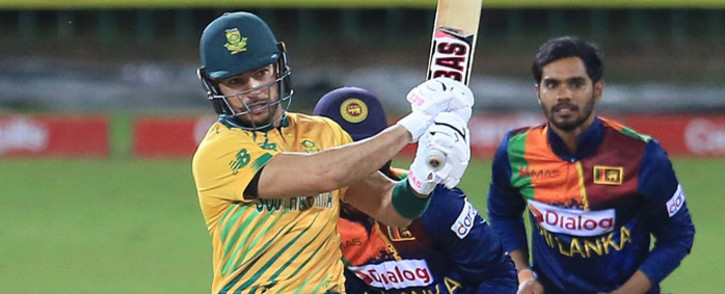 Proteas opener Reeza Hendricks plays a shot in the Twenty20 International match against Sri Lanka in Colombo on 14 September 2021. Picture: @OfficialCSA/Twitter