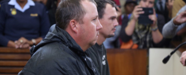 FILE: Willem Oosthuizen and Theo Jackson appear in the Middelburg magistrates court for assault and forcing a man to lie in a coffin. Picture: Christa Eybers/EWN.