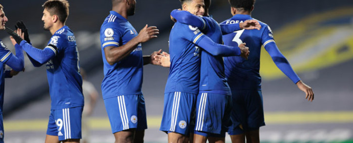 Leicester City players celebrate a goal during their English Premier League match against Leeds United on 2 November 2020. Picture: @LCFC/Twitter