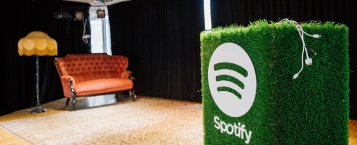 A speaker with the Spotify logo is pictured in the cafeteria of the company headquarters in Stockholm. Picture: AFP