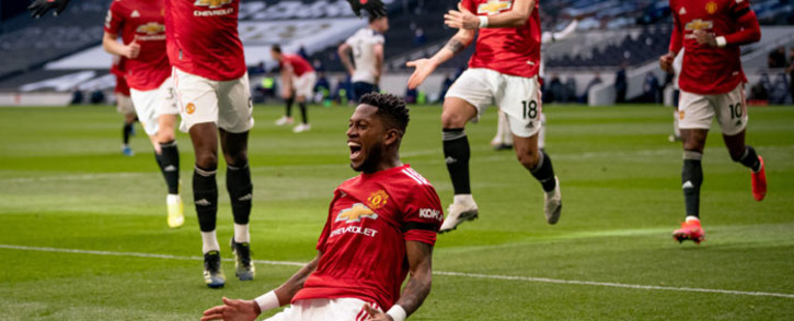 Manchester UNited players celebrate a goal against Tottenham Hotsput in their English Premier League match on 11 April 2021. Picture: @ManUtd/Twitter