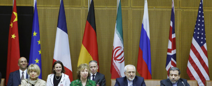 EU Deputy Secretary General Helga Schmid, Vice President of the European Commission Catherine Margaret Ashton, Iranian Foreign Minister Javad Mohammad Zarif, and Iranian ambassador to Austria Hassan Tajik attend the socalled EU 5 1 Talks with Iran at the UN headquarters in Vienna, on 8 April 2014. Picture: AFP.