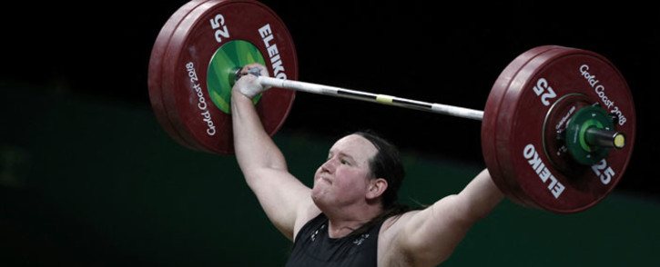 FILE: New Zealand's Laurel Hubbard competes during the women's +90kg weightlifting final at the 2018 Gold Coast Commonwealth Games in Gold Coast on 9 April 2018. Picture: Adrian Dennis/AFP